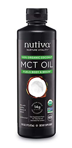 Nutiva Organic MCT Oil, Unflavored, 16 Ounce | USDA Organic, Non-GMO, Non-BPA | Vegan, Gluten-Free, Keto & Paleo | 14g MCT per Serving & Neutral Flavor for Energy Boost to Coffee, Shakes and Salads