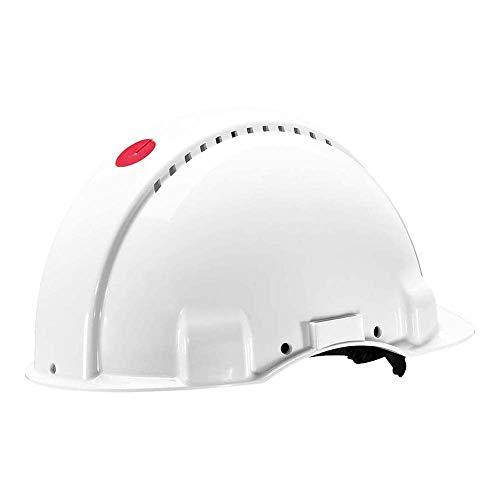 3M G3000 Casco de seguridad blanco con ventilación, arnés de ruleta y banda sudor de plástico (1 casco/caja) ✅