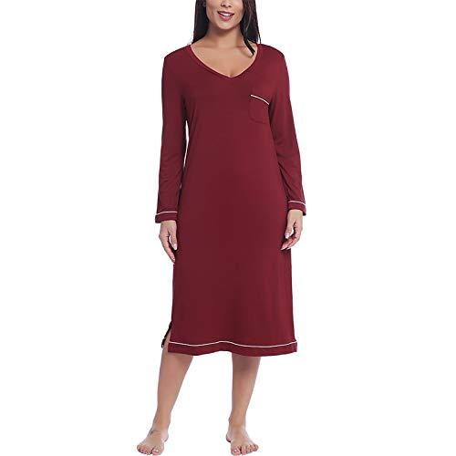 Pyjama Damen Nachthemd Schlafanzug Damen Soft Bamboo Langarm Langarm V-Ausschnitt Nachthemd Nachthemd Schlafkleid S Weiniert