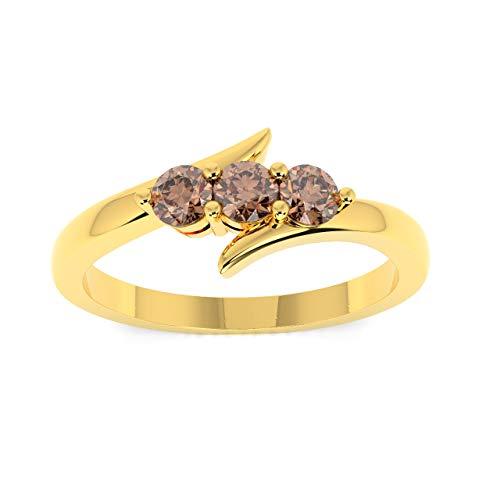 Diamanti rotondi 0.25carati champagne anello Trilogy in oro giallo e Oro giallo, 52 (16.6), cod. MSR0151.5