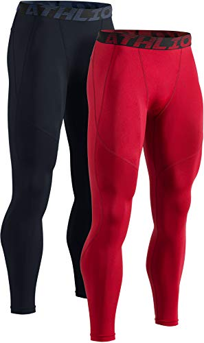 ATHLIO Mens Compression Pants Running Tights Workout Leggings, Cool Dry Technical Sports Baselayer, Active 2pack(blp05) - Black/Red, Large