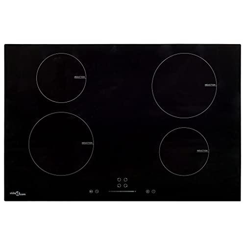 vidaXL Placa de Inducción 4 Quemadores Táctil Cocina Eléctrica Empotrada Vitrocerámica Autosuficiente Instalación Vidrio 77 cm 7000 W