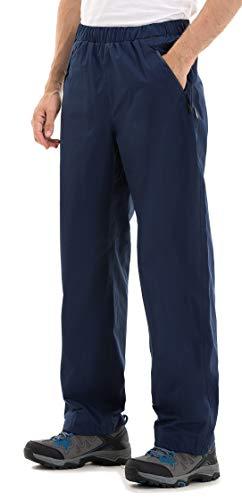 Clothin Men's Rain Pants Waterproof Elastic Waist with Zipper Pocket(Blue,XL)