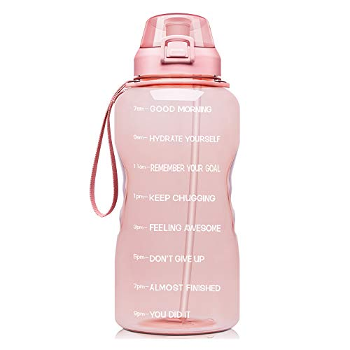 Fidus Large 1 Gallon/128oz Motivational Water Bottle with Time Marker & Straw,Leakproof Tritan BPA Free Water Jug,Ensure You Drink Enough Water Daily for Fitness,Gym and Outdoor Sports-Light Pink