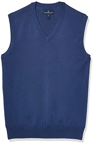 Amazon Brand - Buttoned Down Men's 100% Supima Cotton Sweater Vest, Blue, XX-Large