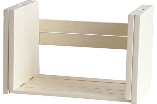 ブックスタンド 本立て ブックラック 完成品 コミックラック マンガ収納 雑誌立て 収納棚 シンプル 天然木 木製 おしゃれ (ホワイト)