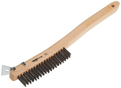 Forney 70521 Wire Scratch Brush, Stainless Steel with Curved Wood Handle, 13-3/4-Inch-by-.013-Inch