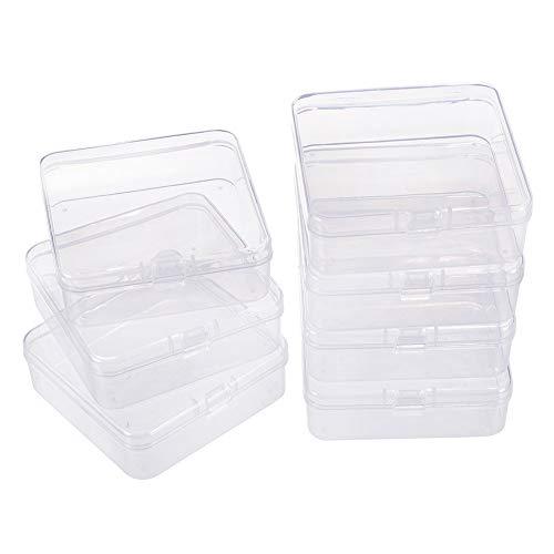 BENECREAT 10 Pack Caja de Contenedores de Almacenamiento de Plástico Transparente con Tapas Abatibles para Pastillas Hierbas Cuentas Pequeñas Joyería