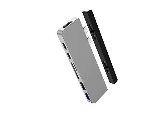 HyperDrive USB C Hub, Best Mac Type-C Dual Hub Adapter for MacBook Pro Air 2020 2019 13' 15' 16' & iPad Pro, USB-C Devices, 7in2: USBC PD 100W 40Gbps, 4K HDMI, microSD/SD Card Reader, 2xUSB 3.1 Sanho