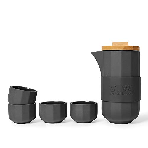 Teekanne mit 4 Teetassen im 5-teiligen-Set aus Porzellan, Teekanne Porzellan mit hochwertigen Bambus-Holz-Deckel, Dunkel Grau