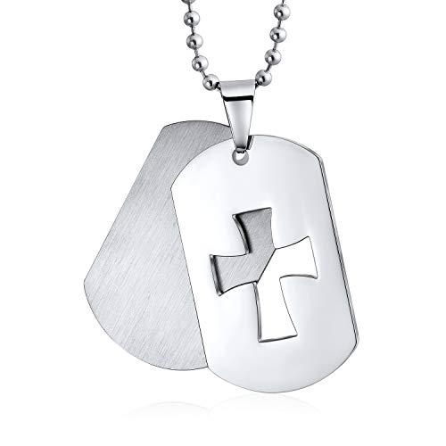 Bling Jewelry Zwei Ton Herren Große Hundemarke Kreuz Anhänger Halskette Für Herren Aus Gebürstetem Edelstahl Mit Kette 20 Zoll