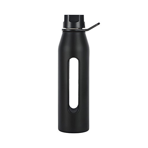 Takeya Glass Water Bottle with Silicone Sleeve and Twist Cap, 22 Ounce, Black