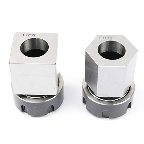 ER-32 Collet Chucks Block Set of 2 Square and Hex Workholding Holder for CNC Lathe Engraving Machine