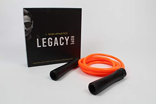 RUSH ATHLETICS Legacy Weighted Jump Rope Orange/Black - Best for Weight Loss Fitness Training - Strength Power - Adjustable 10ft Heavy Jump Rope