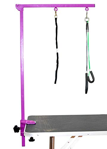 SHELANDY Pet Grooming arm with clamp for Large and Small Dogs - 35 inch Height Adjustable and Free Two No Sit Haunch Holder (Purple)