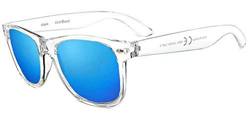 New Sunglasses reflective lenses Vintage Classic unisex frame UV400 (Transparent Frame Blue Outer lens 0844)