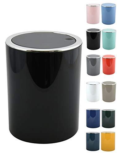 MSV Bad Serie Aspen Design Kosmetikeimer Bad Treteimer Schwingdeckeleimer Abfallbehälter mit Schwingdeckel 6 Liter (ØxH): ca. 18,5 x 26 cm Schwarz