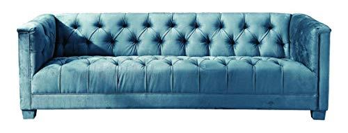 Luxus Home And Garden Chatsworth - Sofá de 3 plazas tapizado de terciopelo de felpa, color azul