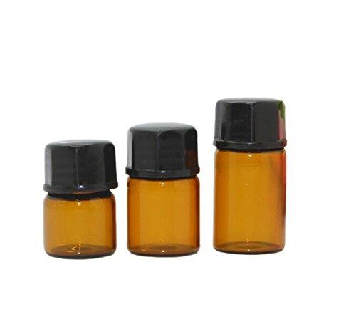 Glasfläschchen, 30Stück, hellbraun, wiederverwendbar, mit Lochtropfer und schwarzem Schraubverschluss, für Parfum, ätherische Öle, Lotion, 2ml