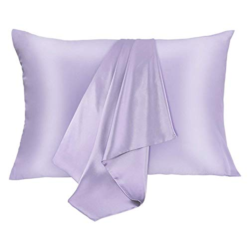 JOGJUE Silk Pillowcase for Hair and Skin 2 Pack 100% Mulberry Silk Bed Pillowcase Hypoallergenic Soft Breathable Both Sides Silk Pillow Case with Hidden Zipper, Pillow Cases (Queen, Light Purple)