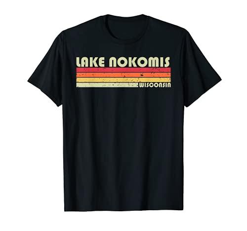 LAGO NOKOMIS WISCONSIN Divertido Regalo de Verano de Pesca Camping Camiseta