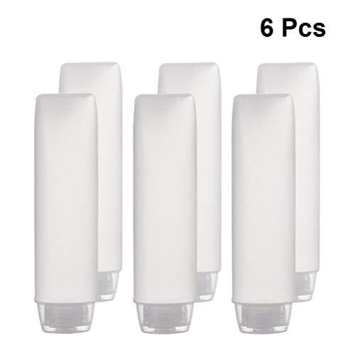 Mobestech 6St Draagbare Reisflessen 50Ml Siliconen Containers Pe Knijp Hervulbare Containers Lichtgewicht Toilettassen Cosmetische Flessen