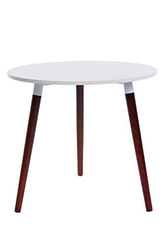CLP Retro-Design Küchentisch ANSGAR mit 3 Holzbeinen I I rund Ø 80 cm I Tischhöhe 75 cm, Farbe:weiß, Gestell Farbe:Cappuccino