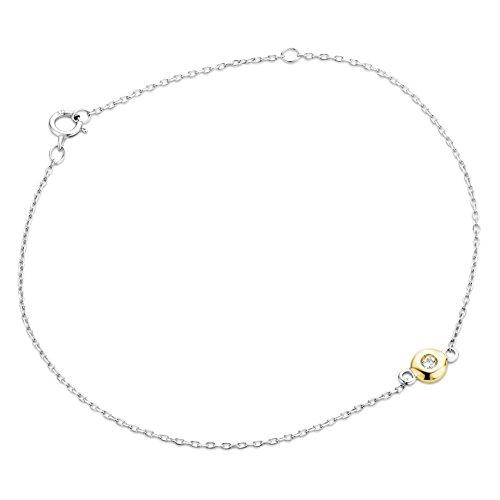 Orovi Pulsera de compromiso solitaria para mujer, 9 quilates, oro blanco 375, oro amarillo con diamante de corte brillante, 0,03 quilates, 18,5 cm