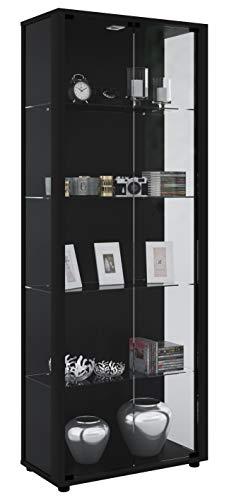 VCM Vitrine Sammelvitrine Standvitrine Glasvitrine Glas Schrank Regal Schaukasten Schwarz 176 x 67 x 33 cm