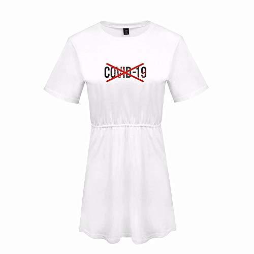 IKWO T-Shirt a Manica Corta+gonne Set in Due Pezzi COVID-19 Donna Top Tinta Unita Popolare Coronavirus Stampate Virus Quarantena Manica Corta