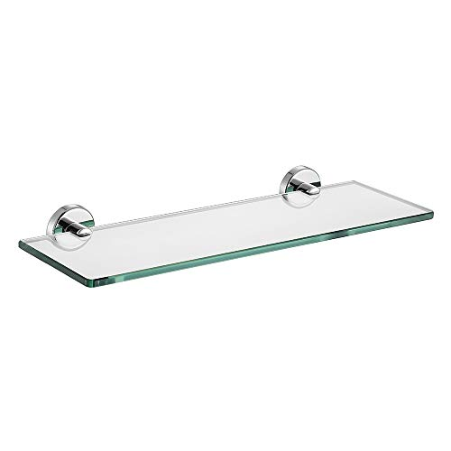 JQK Bathroom Glass Shelf Chrome, Tempered Glass Shower Storage 16 by 5 inches, 304 Stainless Steel Polished Chrome Wall Mount, TGS101-CH