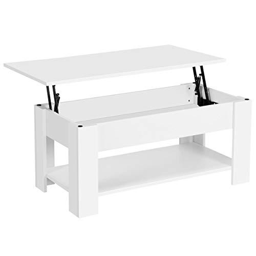Yaheetech Table Basse avec Plateau Relevable Compartiment Caché Table de Salon Moderne 98 x 50 x 42 cm Blanche