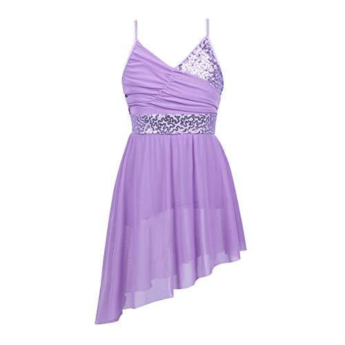 Agoky Girls Shiny Sequins V Neck Spaghetti Straps Irregular Dance Dress Latin Modern Lyrical Dancewear Lavender 12 14 Years