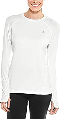 Coolibar UPF 50+ Women's Devi Long Sleeve Fitness T-Shirt - Sun Protective (Medium- White)
