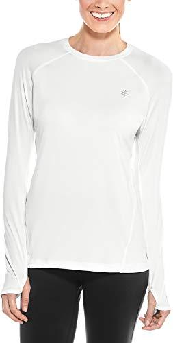 Coolibar UPF 50+ Women's Devi Long Sleeve Fitness T-Shirt - Sun Protective (Medium- White)