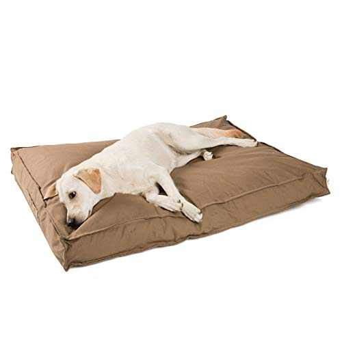 JAMAXX Premium Hundekissen - Orthopädisch Memory Schaumstoff-Flocken, Waschbar Abnehmbarer Bezug Wasserabweisend - Hundebett mit Canvas Stoffbezug PDB1007 (L) 120x90 Coffee-braun