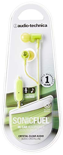 Audio-Technica ATH-CLR100iSLG SonicFuel In-Ear Headphones with In-Line Microphone & Control, Lime Green
