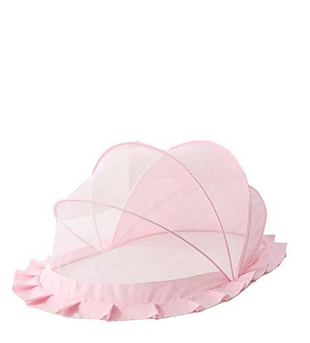 Yx-outdoor Mosquitera Plegable para bebés de Verano, Tienda de Mosquitos sin Ruido de 0 a 5 años de Edad - Sin Fondo, con sombrilla,Pink,S