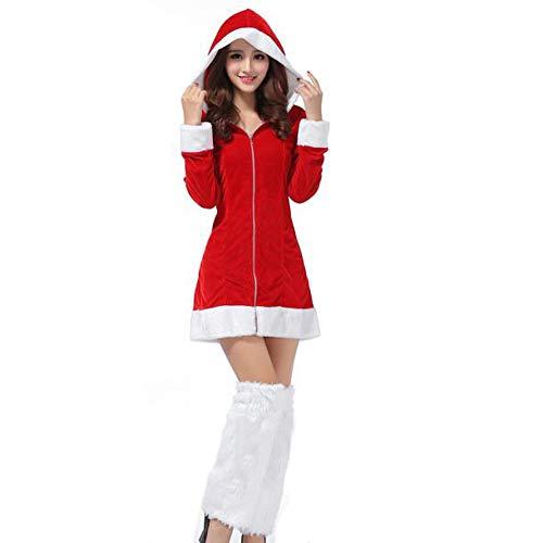 Homebaby Costume da Babbo Natale Donna Festa di Natale Fantasia a Due Pezzi Abito Cosplay Vestito da Sera da Donna Una Linea Mini Abito da Regalo di Natale