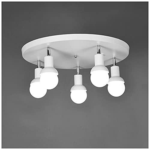 Lámpara de Techo con 5 Focos Giratorios, Plafón Ajustable Base Redonda 50cm...