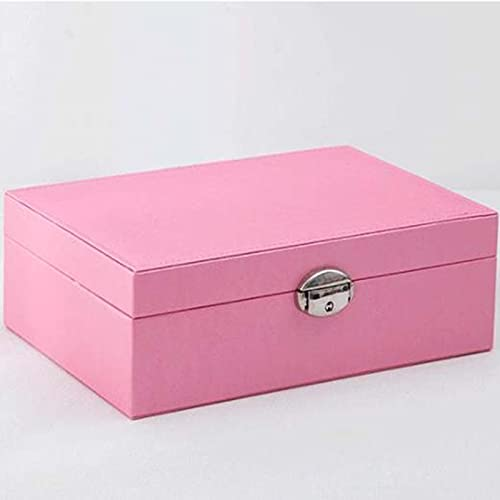 SBNM Pink Jewelry Box, Artificial Leather Texture Storage Box, Put a Lot of Earrings, Bracelets, Rings, Watches, The
