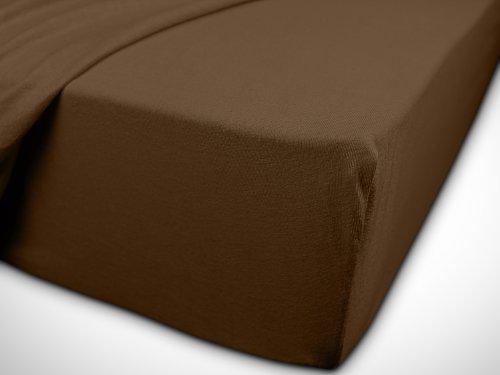npluseins klassisches Jersey Spannbetttuch – erhältlich in 34 modernen Farben und 6 verschiedenen Größen – 100% Baumwolle, 70 x 140 cm, schokobraun - 7