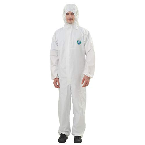 Medtecs Disposable Coveralls Suit Medical Protective Coverall PPE Hazmat Suits, Biohazard Chemical Protection Waterproof Full Body Protective Clothing, CoverU Overalls for Men and Women White L