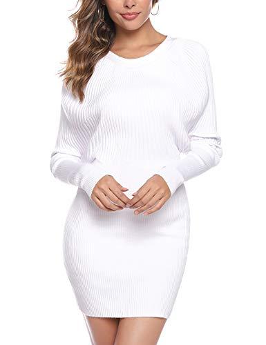 Aibrou Vestidos a Punto Mujer,Vestido Sexy de Una Pieza de Punto elástico,Vestidos de Jersey Manga Larga Vestido Invierno Vestido Fiesta (Blanco, XXL)