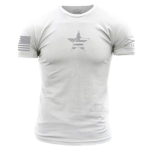 Grunt Style Basic American Star Men's T-Shirt, Color White, Size Large