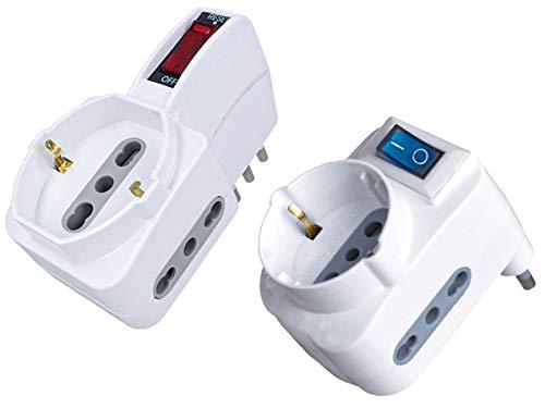 LEDLUX Adaptador triple con interruptor múltiple con 2 tomas 2P + T 10/16 A bipaso + 1 toma Schuko 250 V blanco, enchufe 10 A + 16 A