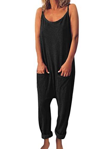 Tomwell Damen Beiläufig Latzhose Jumpsuits Bib Hose Leinen Casual Loose Overall Lange Wide Leg Hosen B Schwarz DE 44