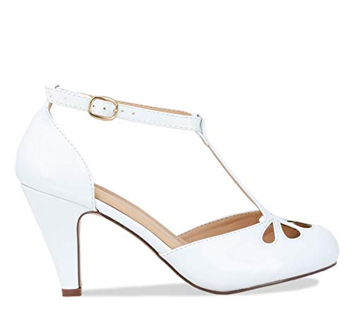 Chase & Chloe Kimmy-36 Women's Teardrop Cut Out T-Strap Mid Heel Dress Pumps (11, White Pat)