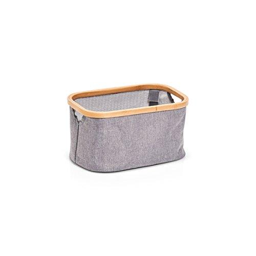 Zeller 14230 Aufbewahrungskorb, Polyester/Bamboo, Grau, ca. 29,5 x 20 x 16 cm