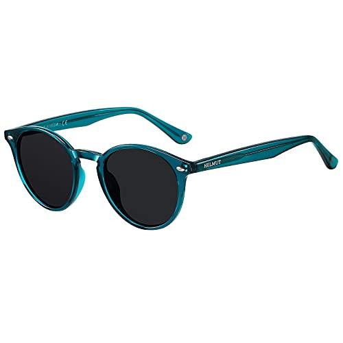 H HELMUT JUST Gafas De Sol para Hombre Redondas Polarizadas Vintage TR90 y Patilla de Acetato Unisex